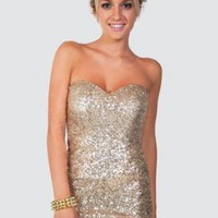 Gold Strapless Sequin Bandeau Dress