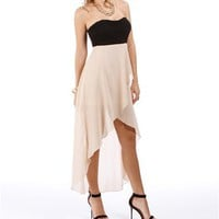 Black/Taupe Hi Lo Homecoming Dress