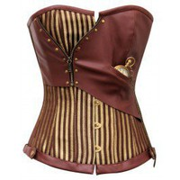 CD-468 - Brown and Gold Striped Overbust Corset