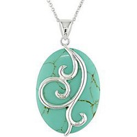 Sterling Silver Oval Turquoise Necklace: Jewelry: Amazon.com