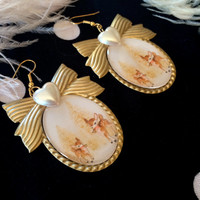 Holiday Fawns Cameo Earrings