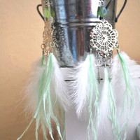 White feather dream catcher earrings with a touch of mint