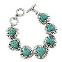 Silver Plated Blue/green Heart Toggle Bracelet Fashion Jewelry: Jewelry: Amazon.com