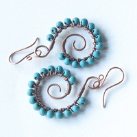 Copper spiral earrings - turquoise stone beads, wire wrapped
