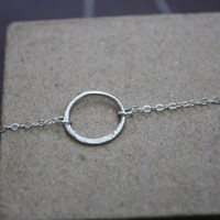 Half Hammered Circle Necklace Argentium Silver
