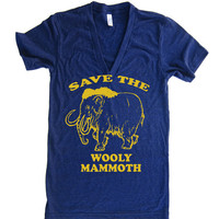 Unisex Save The Wooly Mammoth Deep V Neck T Shirt - american apparel - XS S M L (15 Color Options)