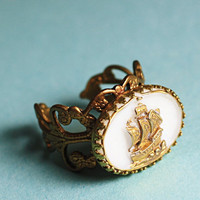 Pirate ship cameo ring brass filigree by mylavaliere
