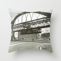 Vintage Wuppertal Floating Train Photo Throw Pillow by Christine Aka Stine1