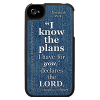 Jeremiah 29:11 I Know The Plans Bible Verse Iphone 4 Covers from Zazzle.com