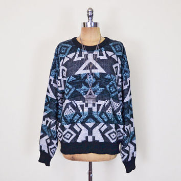 Vintage 80s 90s Black Southwestern Sweater Southwest Sweater Tribal Sweater Abstract Sweater Oversize Sweater Hipster Sweater Grunge Sweater