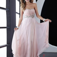 A-line Strapless Floor-length Chiffon Best-Selling Prom Dress with Beading at Msdressy