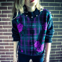 Repurposed / Recycled Vintage Black Purple Pink Teal Green Plaid Rose Stud Shoulder Collar Sweater