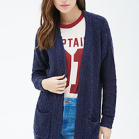 Textured Knit Open-Front Cardigan