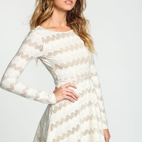 Cream Netted Chevron Fit and Flare Dress - LoveCulture