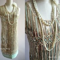 Great Gatsby 1920s Flapper Charleston Sequin Embellish Pastel Vintage Gold Dress