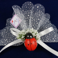 Beach wedding red ladybug lavender sachet favors /designed with white organza ribbon / bridal shower / baby shower /Custom listing(50)