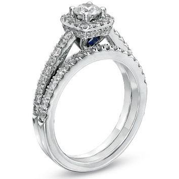 Vera Wang LOVE Collection 1 CT. T.W. Diamond Frame Bridal Set in 14K White Gold