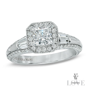 Vera Wang LOVE Collection 1 CT. T.W. Princess-Cut Diamond Edge Engagement Ring in 14K White Gold