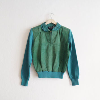 Vintage Leather Jumper / 70s Jumper / Peter Pan Collar Jumper