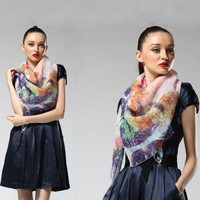 Autumn & Winter Female Ink Silk Scarf  by Julyjoy