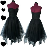 Vintage 50s Black Strapless TULLE Party Prom Dress XS S Rockabilly Swing Pinup