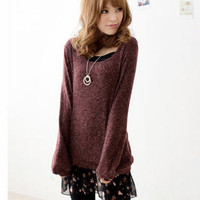 YESSTYLE: Tokyo Fashion- Set: Knit Top + Ruffle Slipdress (Top - Dark Red - One Size / Dress - Black - One Size) - Free International Shipping on orders over $150