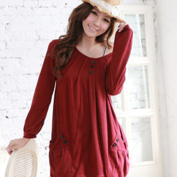 YESSTYLE: RingBear- Pleated Long Sleeve Dress - Free International Shipping on orders over $150