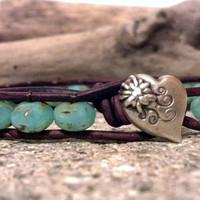 Seafoam Opal Picasso Beaded Leather Wrap Bracelet, PZW098