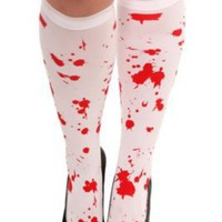 White Blood Splatter Knee-High | Hosiery