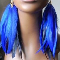 Blue Feather Earrings | MarcieRoxx - Jewelry on ArtFire