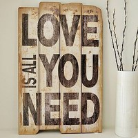 &#x27;love&#x27; wooden wall sign by primrose &amp; plum | notonthehighstreet.com