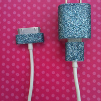 Light Blue Glitter iPhone Charger