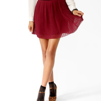 Pleated Contrast Waist Skirt | FOREVER21 - 2021839804