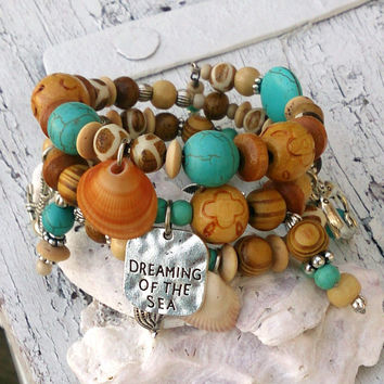 Dreaming Of The Sea Wrap Bracelet Ocean Beach Sea Shell Turquoise Jewelry