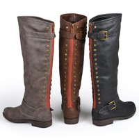 Brinley Co. Womens Studded Buckle Detail Boots (9 Wide Calf, Black)