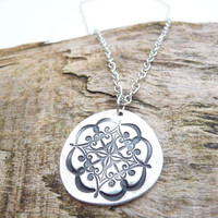 Boho silver pendant made from fine silver