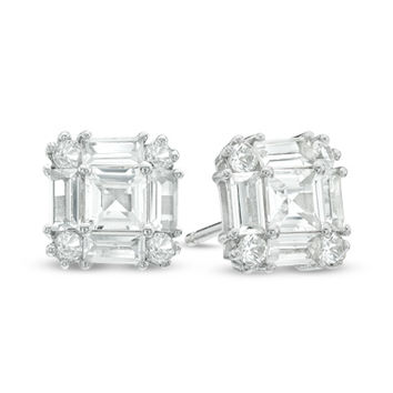 Multi-Shaped Lab-Created White Sapphire Art Deco Stud Earrings in Sterling Silver