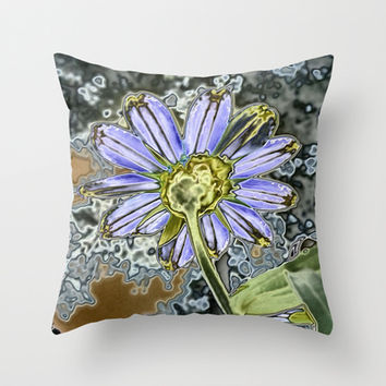 Purple Glow Daisy  Throw Pillow by KCavender Designs