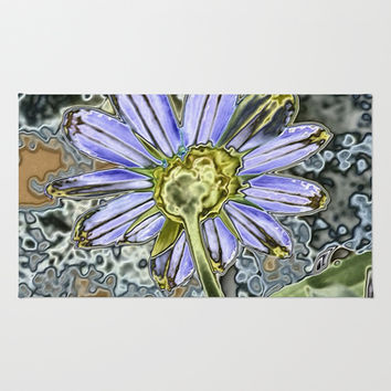 Purple Glow Daisy  Rug by KCavender Designs