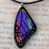 Purple Pink Rainbow Fused Glass Butterfly Wing by fusedelegance
