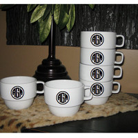 Monogrammed Coffee Mugs Set of 6 Stackable by olivetreemonograms