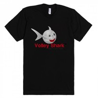 Volley Shark at night-Unisex Black T-Shirt