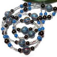 Lanyard Necklace Polymer Clay Pearl Brown Lapis Blue Angel Breakaway