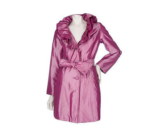 Dennis Basso Water Resistant Iridescent Ruffle Collar Jacket - QVC.com