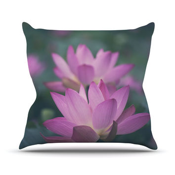 """Catherine McDonald """"Hope for Tomorrow"""" Pink Green Outdoor Throw Pillow"""