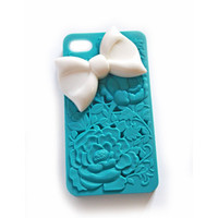 3D Floral iphone 4 case with White BOW,  cellphone cover with, cellphone cover, Hard case, iPhone Cover, cover for Android,