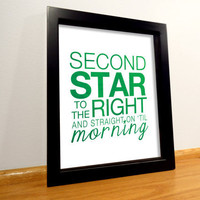 Peter Pan Quote Print - 8x10 Green Typography Print