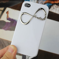 White Hard Case Cover With One Direction &quot;Directioner&quot; Infinity for Apple iPhone 4 Case, iPhone 4 Cover,iPhone 4s Case, iPhone 4gs