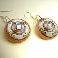 Hand Painted Ornamental Earrings, White Art Earrings with Ornament,  Wood Jewelry