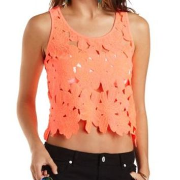 Floral Lace Tank Top by Charlotte Russe - Neon